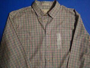 NWT Men's Preswick & Moore Size 2XL Brown Checkered Button Down Shirt