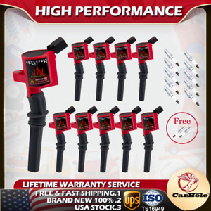 10 Pack Ignition Coils 12 Spark Plugs For Ford F150 F250 F350 4.6L 5.4L V8 DG508