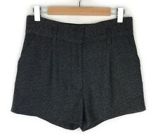 Arthur Galan Wool High Waisted Shorts Size 10 Grey Woven Work Evening Womens
