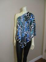 CACHE One Shoulder Silk Top Blouse sz M Club Party Blue Animal Print