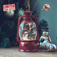 Snowman Christmas Snow Globe Musical Lantern Lighted Swirling Glitter Water