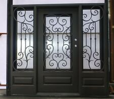 "Stunning Wrought Iron Entry Doors with glass 80"" x 84"""