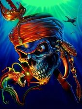 EURO 7 STAGE MULTI LAYER STEP BY STEP AIRBRUSH PIRATE SKULL STENCIL TEMPLATE