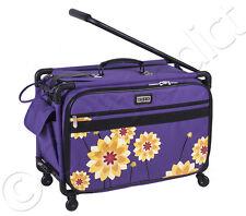 "Tutto Tote on Wheels Large, 22"" - Purple Dahlia Design - Sewing Machine Case Bag"