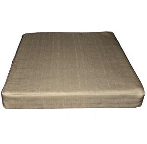 Qh11t Tan Thick Cotton Blend 3D Box Sofa Seat Cushion Cover Custom Size