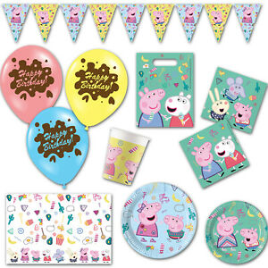 Peppa Pig Messy Puddle Children's Birthday Plates Cups Balloons Party Supplies