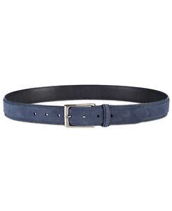 Tasso Elba Men's Faux-Suede Belt (Dark Blue, M)