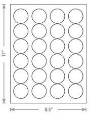 "25 Sheets Laser Inkjet 1.67"" Round Circle Dots Labels 24-Up"