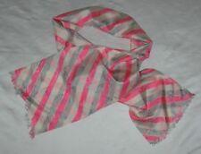 VINTAGE - Vera Neuman Silk Scarf Pink, White,Grey - Stripes on a slant