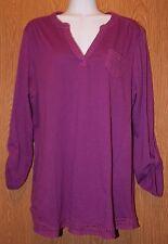 Womens Purple Crochet Accent NorthCrest 3/4 or Long Sleeve Shirt Size Medium NWT