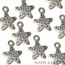 20 TIBETAN ANTIQUE SILVER JUST4YOU STAR CHARM PENDANT BEADS SIZE 14mmx11mm TS57