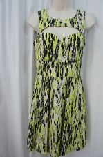 Guess Los Angeles Dress Sz 2 Neon Green Black Smocked Back Cocktail Dress