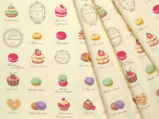 Yuwa Japanese Fabric / Cute Macaron Design Oxford Fabric White - 50cm x 110cm