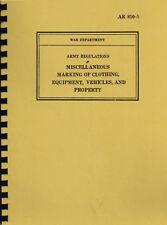 AR 850-5 ~ WWII ~ Vehicle / Equipment Marking Regulations Manual ~ Reprnt