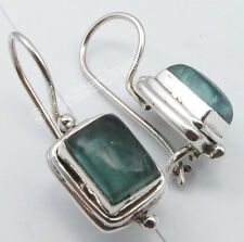 ".925 Solid Silver Rare GREEN APATITE Fix Hook Earrings 1"" BIRTHDAY PRESENT"