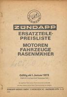 Zündapp Preisliste Ersatzteile 1.1.73  9/73 1973 Zundapp Moped Deutschland
