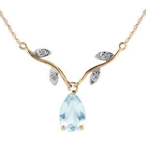 Genuine Aquamarine Gem & Diamonds Chandelier Necklace 14K. White Yellow Rose Gld