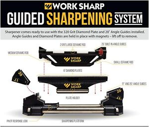 WORK SHARP   WSGSS Guided Sharpening System + 320 Grit + ANGLE GUIDE    !!!