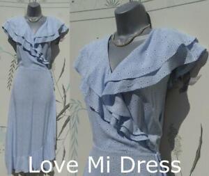 Gorgeous WW2 40's style Faux Wrap Flower Print Tea/Day Dress Sz 14 EU42