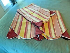 Country Curtains Scalloped Valance Maroon, Gold Stripes fully lined NWOT