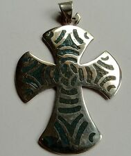 Large Mexican Sterling Silver Cross Chip Inlay Eagle #2