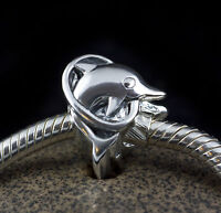 Genuine SOLID 925 Sterling Silver charm bead dolphin show fits bracelets AUM SS