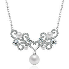 18K WHITE GOLD PLATED GENUINE CLEAR CUBIC ZIRCONIA AND WHITE PEARL NECKLACE