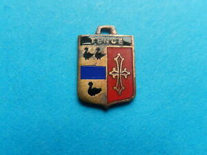 Vintage Enamel french Travel Shield Charms TENCE DUCK CROSS