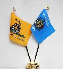 Gadsden & Wisconsin Double Friendship Table Flag Set