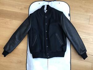 Golden Bear Black Varsity Leather Jacket Size L Brand New Never Worn