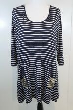 Soft Surroundings Size XL Striped Tunic Top Black White Pocket Metallic Accents