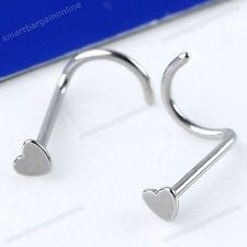 10pc 20g Stainless Steel Heart Twisty Screw Nose Ring Nostril Stud Body Piercing