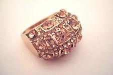 Large Gold Tone Ladies Pale Pink Colour Stones & Diamante Cocktail Ring Size P