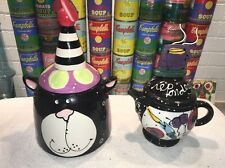 Whimsical MADE WITH LOVE JOANNE DELOMBA Cat Cookie Jar & RSVP Teapot