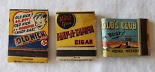 3 Matchbook Covers Harold's Club Reno Old Nick Candy Bar Hav-A-Tampa Cigar