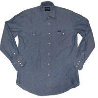 Wrangler Mens Large Blue Denim Western Shirt Long Sleeve Pearl Snap