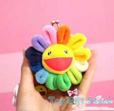9CM Rainbow Flower Plush Clip Fastener Coin bag purse