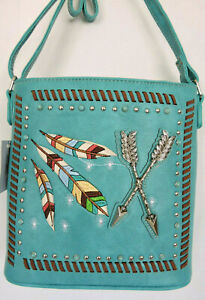 Turquoise  Cross-body Concealed Gun Carry Messenger Bag Feathers and Arrows