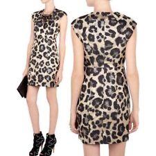 TIBI Sz 2 Lavender Metallic Brocade Leopard Print Padded Cap Sleeve Sheath Dress