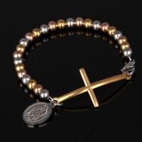 Men Women Gold Silver Stainless Steel Cross Bracelet Bangle Wristband Cuff Chain