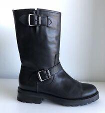 Frye Natalie Mid Engineer Buckle Leather Lug Boots - Black Size 6.5 New!