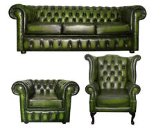 Antique Green Chesterfield 100 Genuine Leather 3 Piece Suite