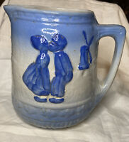 Antique Brush McCoy Pottery Pitcher -Dutch Kissing Boy Girl Windmill