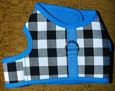 Pet Harness - Black And White Checkered Pattern With Blue Trim - SZ S or M