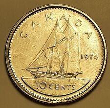 1974 Canada 10 Cent Dime Clip Planchet Flaw Error #239