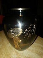 FINE ARTS Japan Black Lacquered Brass Vase. Deeply Engraved Scene