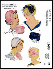 Vintage Millinery HAT & BAG Fascinator Fabric Sew Material Pattern McCall # 1690