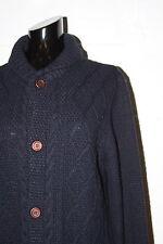 EUC TopMan Navy Blue Cardigan Cable Knit Fisherman Sweater Sz S Small