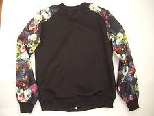 Teenloveme Women's Black Floral Stand Collar Bomber Jacket Size M BNWT