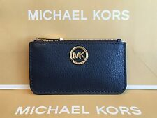NWT MICHAEL MICHAEL KORS FULTON PEBBLED LEATHER ZIP KEY POUCH/WALLET IN NAVY